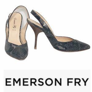 Emerson Fry black/Gray Snakeskin Slingback Heel 37